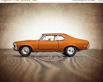 FLASH SALE til MIDNIGHT Vintage Orange 69 Chevy Nova Side View, One Photo Print, Boys Room decor, Vintage Car Prints