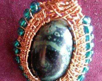 Designer Silver Eye (Meditation Stone) Cabochon (34x25x5 mm) 45ct Oval Shape Natural Gemstone Viking knit Pendant.