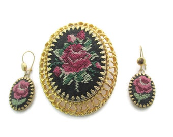 Needlepoint Red Victorian Rose Convertable  Pin Pendant  & Earring Set