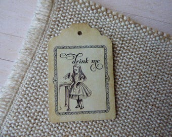 Alice in Wonderland Tags, Drink me Tags, Wedding Tags, High Tea Tags. Tea Party Tags. Set of 25 to 300 pieces, Custom Language available.