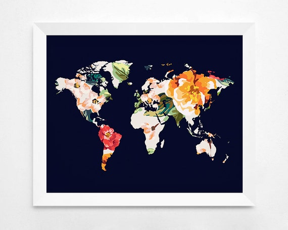 Floral world map art print instant download printable gumiabroncs Image collections