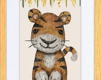 Tiger with Bunting Art print by Kevin Wood