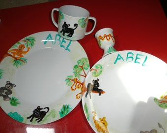 Service 4 piece porcelain limoges painted personalized 2 plates, bacon and egg Cup