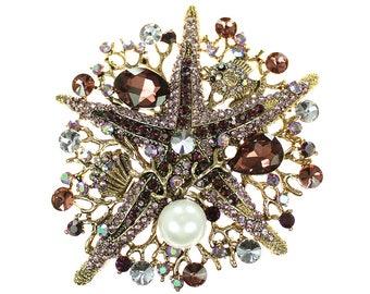 Starfish Brooch, Purple Rhinestone Starfish Broach, Starfish Jewelry Component, Purple Starfish Broach, DIY Craft Supply Embellishment