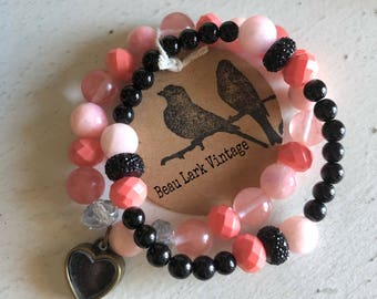 Coral & Black Beaded Bracelet Duo