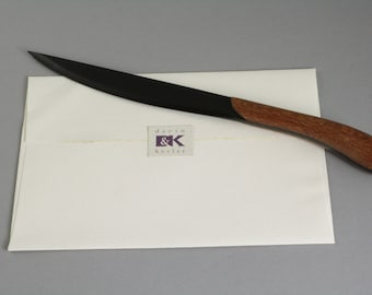 Wooden Letter Opener with Ebony Blade. Maple,Cocobolo, or Lacewood handle.  Office gift, father gift, housewarming gift, gift for men