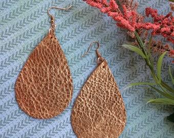 XLarge Teardrop leather earrings, bright copper metallic leather teardrop earrings, bright copper leather earrings