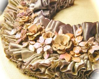 Ruffles and velvet floral assemblage Ballet Chic Bib Collar