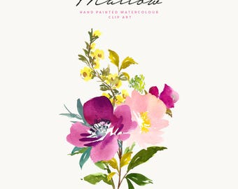 Hand Painted Watercolour Rose Clipart - Mallow