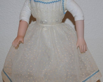"""Vintage Doll Dress, 1940's Handmade Dresses For a 16"""" Doll, Doll Dress, White Dotted Swiss Organdy Doll Dress, Shear Doll Dress With Trim"""