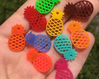 Mixed 10 PINEAPPLES laser cut acrylic charms (20mm)