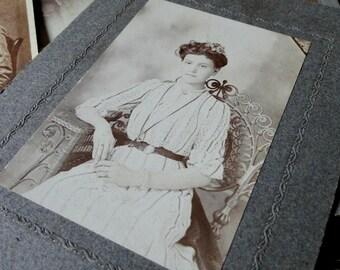Vintage Sepia Studio Portrait Photograph, Original, Young Lady, Ephemera