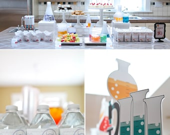 Science Lab Chemistry Experiments Birthday PRINTABLE Party Collection - You Customize EDITABLE TEXT >> Instant Download | Paper and Cake