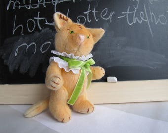 OOAK Teddy Kitten Toy Fantasy Author Toy Art Toy Kitten Fantasy Red Cat Toy  Artist Toy Cat Soft Animal Kitty Organic Stuffed Kitten Artist