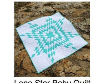 Lone Star Baby Quilt made with Half-Square Triangles - PDF pattern
