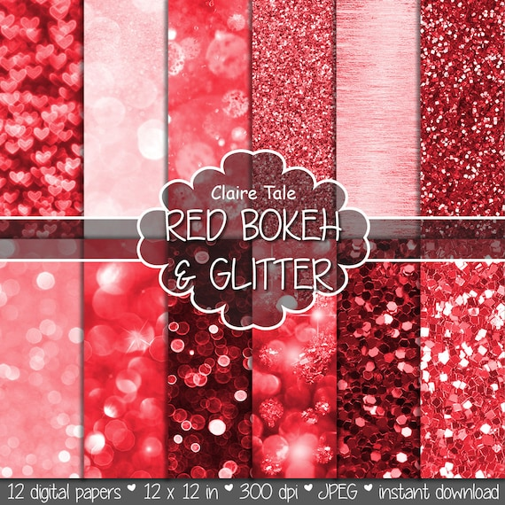 "Red digital paper: ""RED BOKEH & GLITTER"" with red glitter background and red bokeh background for photographers / valentine backdrop"