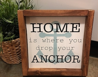 """Custom 8""""x8"""" Rustic Unique Wooden Sign Nautical Home Is Where You Drop Your Anchor Wall Decor"""
