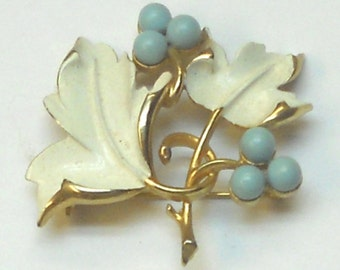 Vintage Brooch Enameled Leaf Design with Turquoise Color Beads by Sarah Coventry