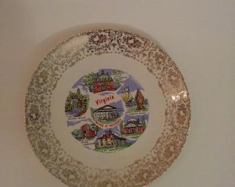 Vintage Collectible Souvenir Plate State of Virginia Home Decor Kitchenware VA
