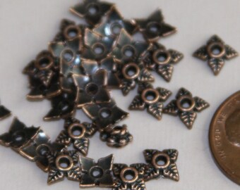 100 pcs of Antiqued Copper 4 petals flower beadcap 7mm