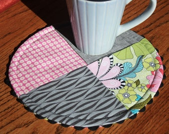 Quilted Mug Rug, Snack Mat, Table Topper, Pieced Hot Pad, Candle Mat, Handmade Gift, Gifts under 15, Small Placemat, Grey, Pink Green Black