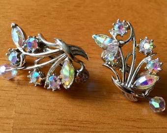 Coro Vintage Signed Crystal and Rhinestone Earrings, Vintage 1950's Coro Clip Earrings, Crystal and Rhinestone Clip Earrings Signed by Coro