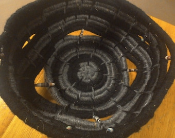 Black and Gray Coiled Basket
