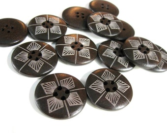 1 inch wooden buttons dark brown set of 6 geometric pattern wooden buttons
