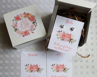 Will You Be My Bridesmaid Favor, Maid of Honor Gift Box, I Cant Say I Do Without You Coral RUSTIC BOHO - Earring Cards, Recycled Paper Fill