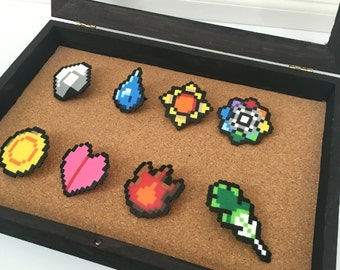 8-bit Pokemon Kanto Badge Pins Set