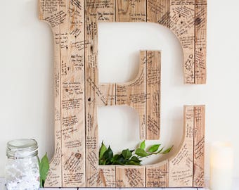 Wedding Guest Book Initial Letter-Wedding Guest Book Alternative-Wedding Guest Book Ideas-Rustic Guestbook-Guestbook Letter