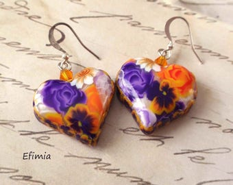 Purple and orange colors with polymer clay heart shaped earrings