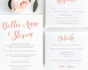 Wedding Invitation suite, shown in Coral, wedding printable set, Invitation, RSVP, Details, Bettie, any colour | DIY printable template