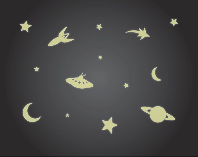 Glow in the Dark Ceiling Stickers - Luminous Rocket, Stars, UFO and Moon