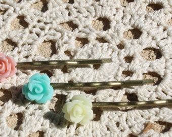 Peach, Turquoise, and Cream Rose Bobby Pin Set