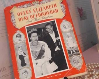 Her majesty Queen Elizabeth, HRH the Duke of Edinburgh and their children volume three by Margaret Saville, vintage book, collectible gift.