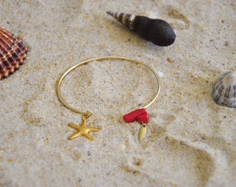 Brass starfish and coral ring