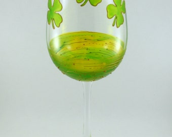 Light GREEN and GOLD Shamrocks, Hand Painted Wine Glass, St. Patrick's Day, Luck O The Irish