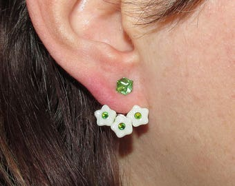 Floral earrings with green Swarovski crystals, Flowers Ear jacket, ear jacket earrings, modern earrings, Front Back Earrings
