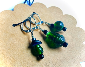 Removable Stitch Markers - Closable - Set of Three (3) - Green Glass Mix - L89