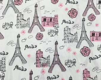 Paris Eiffel Tower France Glitter Pink Fabric Apparel Quilting 100% Cotton 1 Yard