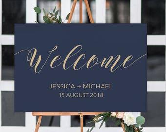 Printable Wedding welcome sign, printable welcome sign, wedding sign, wedding welcome, rustic welcome sign navy FLORENCE