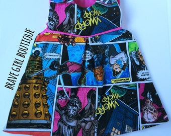 Doctor Who Inspired Comics Reversible Pinafore, Baby and Toddler   MADE to ORDER