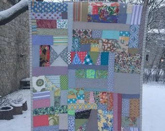 ready to ship -- lovely scrap lap or crib quilt