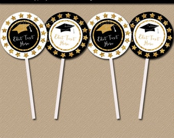 Graduation Cupcake Toppers Printable, Graduation Party Decoration, Cupcake Picks, Favor Tags, Favor Label, Favor Stickers, Thank You Tag G10