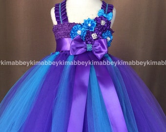 beautiful flower girl tutu dress in purple and turquoise