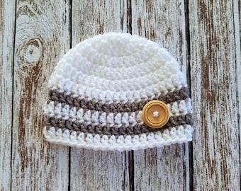 Newborn Baby Hat, Crochet Knit White and Dark Gray Stripes Newborn Baby Boy Hat Beanie with a Wood Button, Ready to Ship