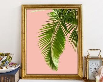 Palm Leaf Print, Tropical Leaf, Tropical Print, Relaxation Art, Pink, Botanical Print, Minimalist Poster, Printable Art, Instant Download