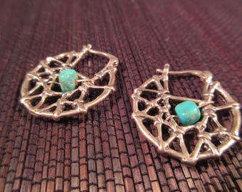 Cool Tribal Sterling Silver Turquoise Spiderweb Earrings