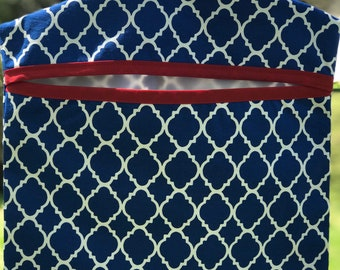 Clothespin bag , Peg Bag, lingerie bag, blue quatrefoil